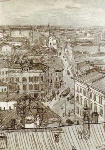 Петр Васильевич Митурич. Москва. Мясницкая улица. 1924. Черный карандаш.